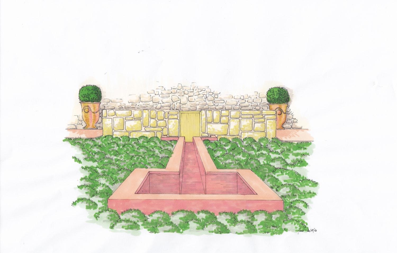 conception d'un bassin d ornement en bêton teinté dans la masse